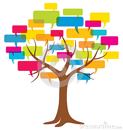 Word Balloon Tree Royalty Free Stock Photography.