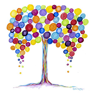 Balloon Tree Painting by Heather Saulsbury.