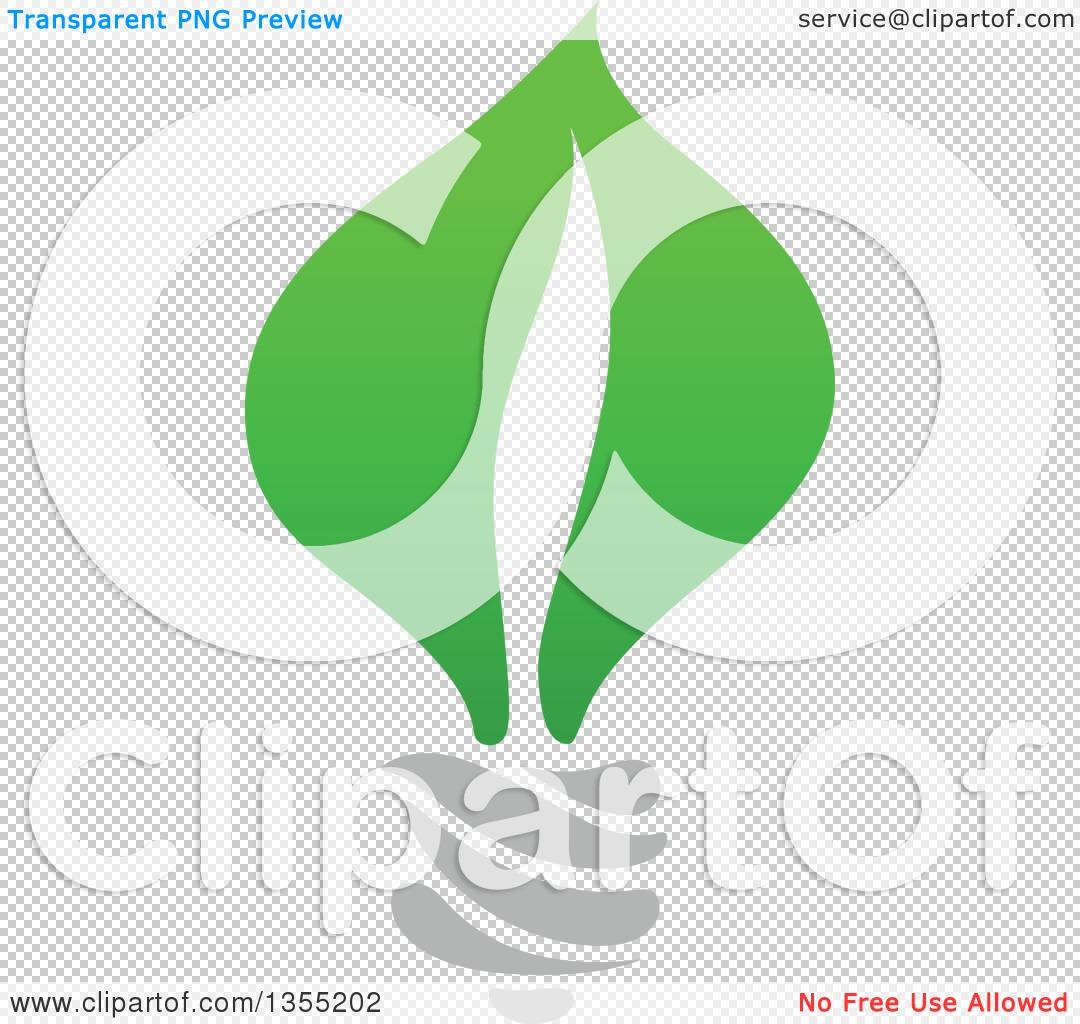 Clipart of a Green Leaf Light Bulb.