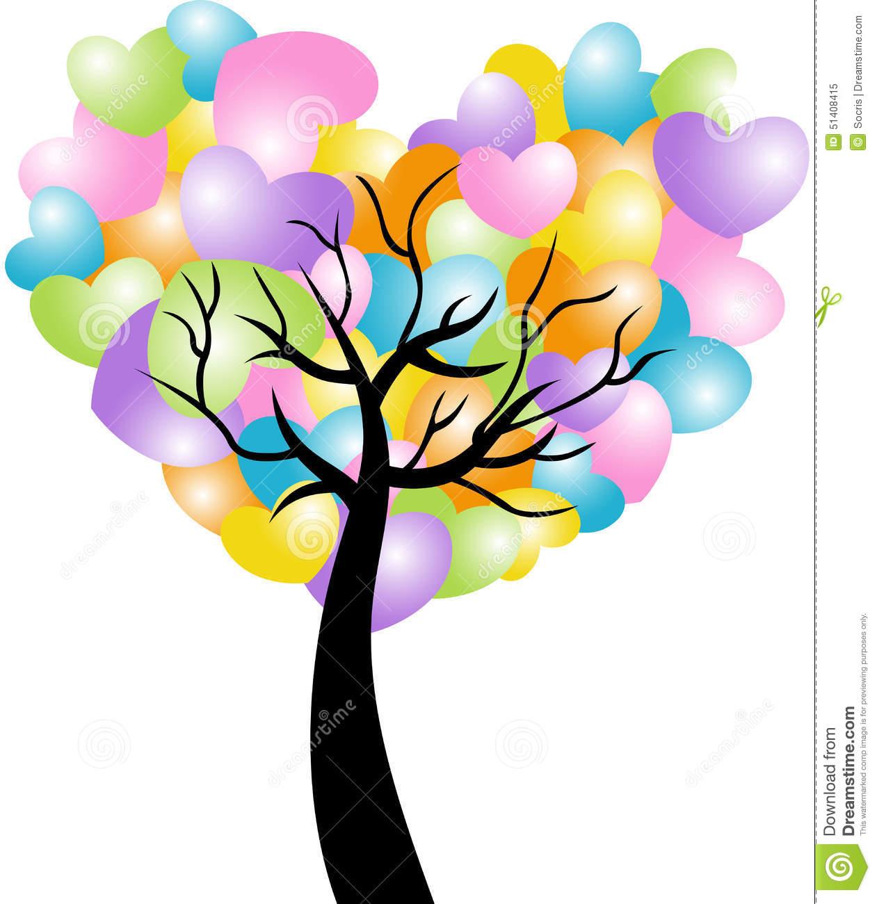 Spring Heart Tree Stock Vector.
