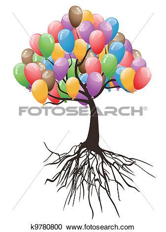 Clipart of balloons tree for happy holiday k9780800.