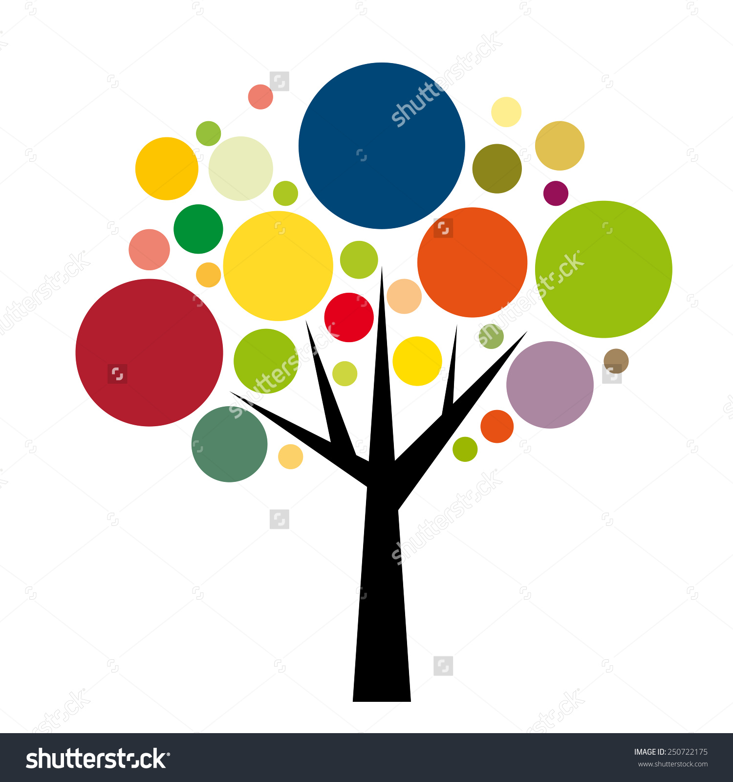 Vector Sign Round Colorful Tree Stock Vector 250722175.