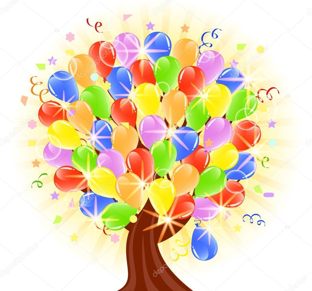 Vector illustration of a balloons tree — Stock Vector © trinochka.