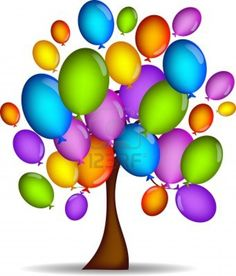 Color Glossy Balloons Tree Background.
