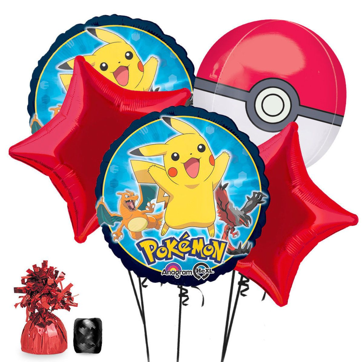 Details about Pikachu Pokemon PokeBall Foil Bouquet Balloon.