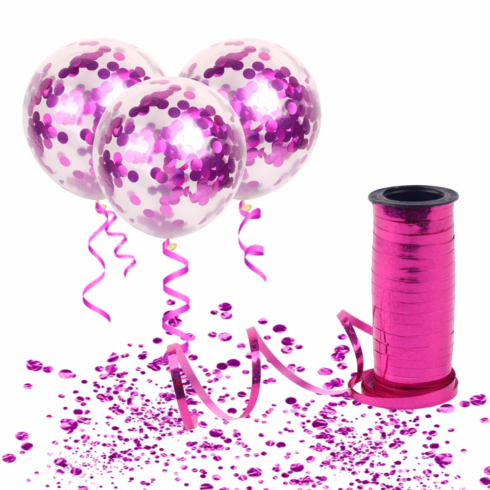 Confetti Balloons with Curling Ribbon.