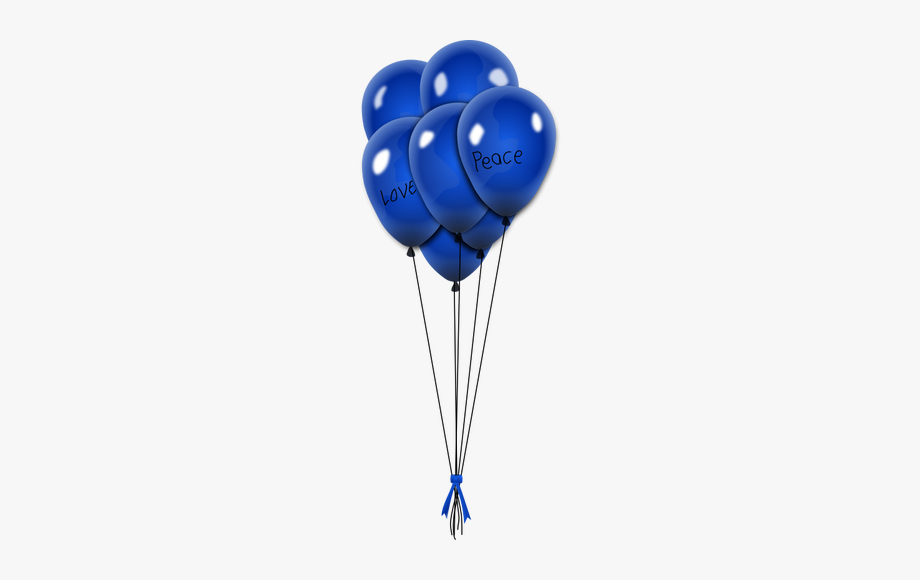 Vector Image Of Blue Balloons On Strings With Ribbon.