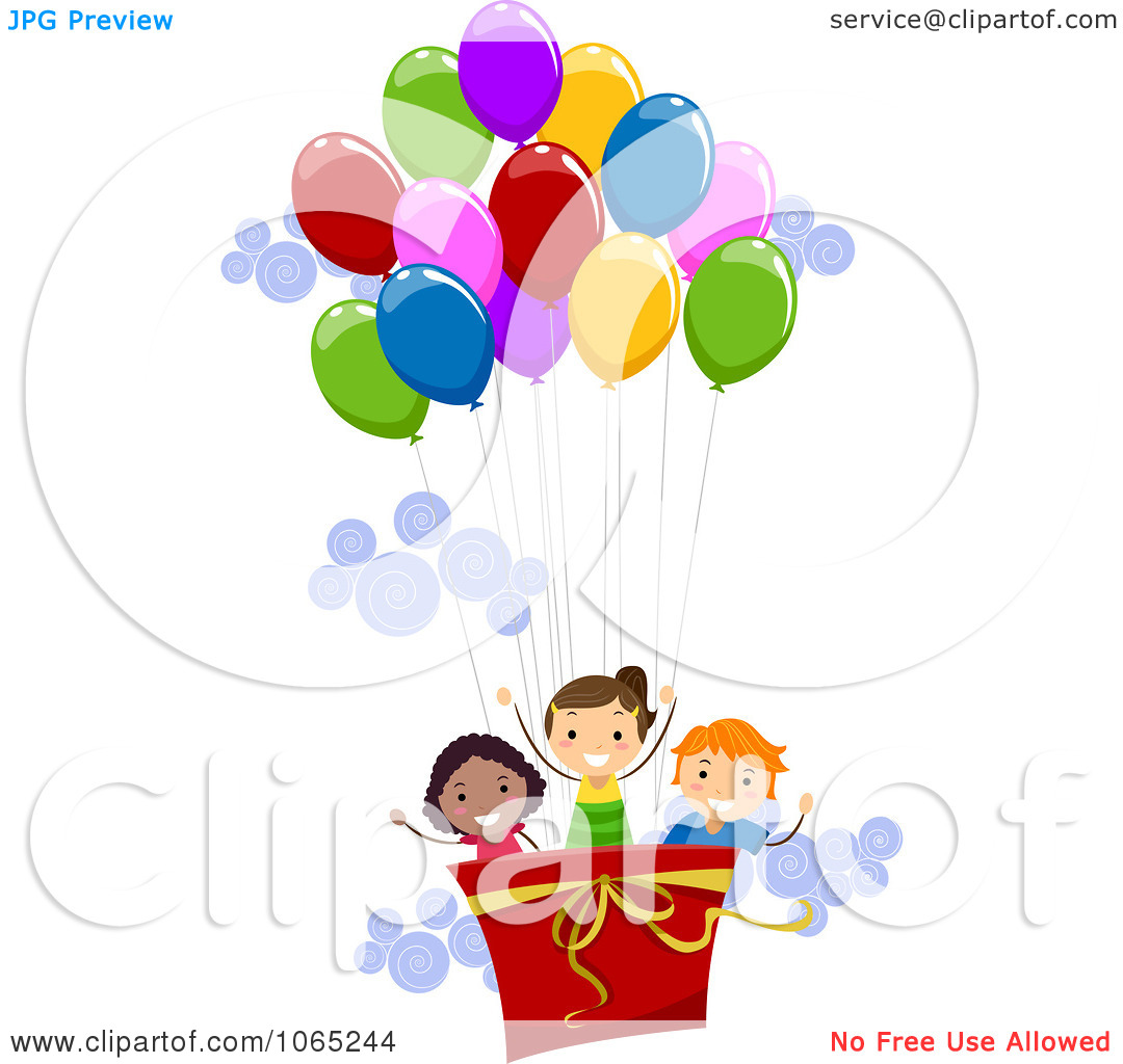 Clipart Kids In A Hot Air Balloon.