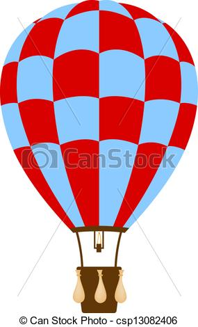 Vector Clipart of Hot air balloon in blue and red design on white.