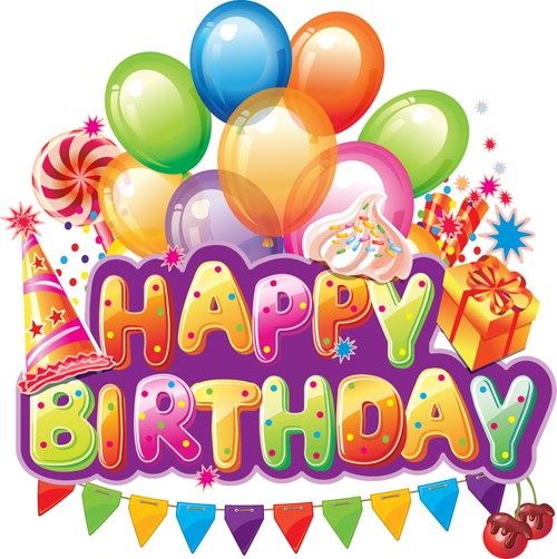 Birthday balloons and cake clip art and images.