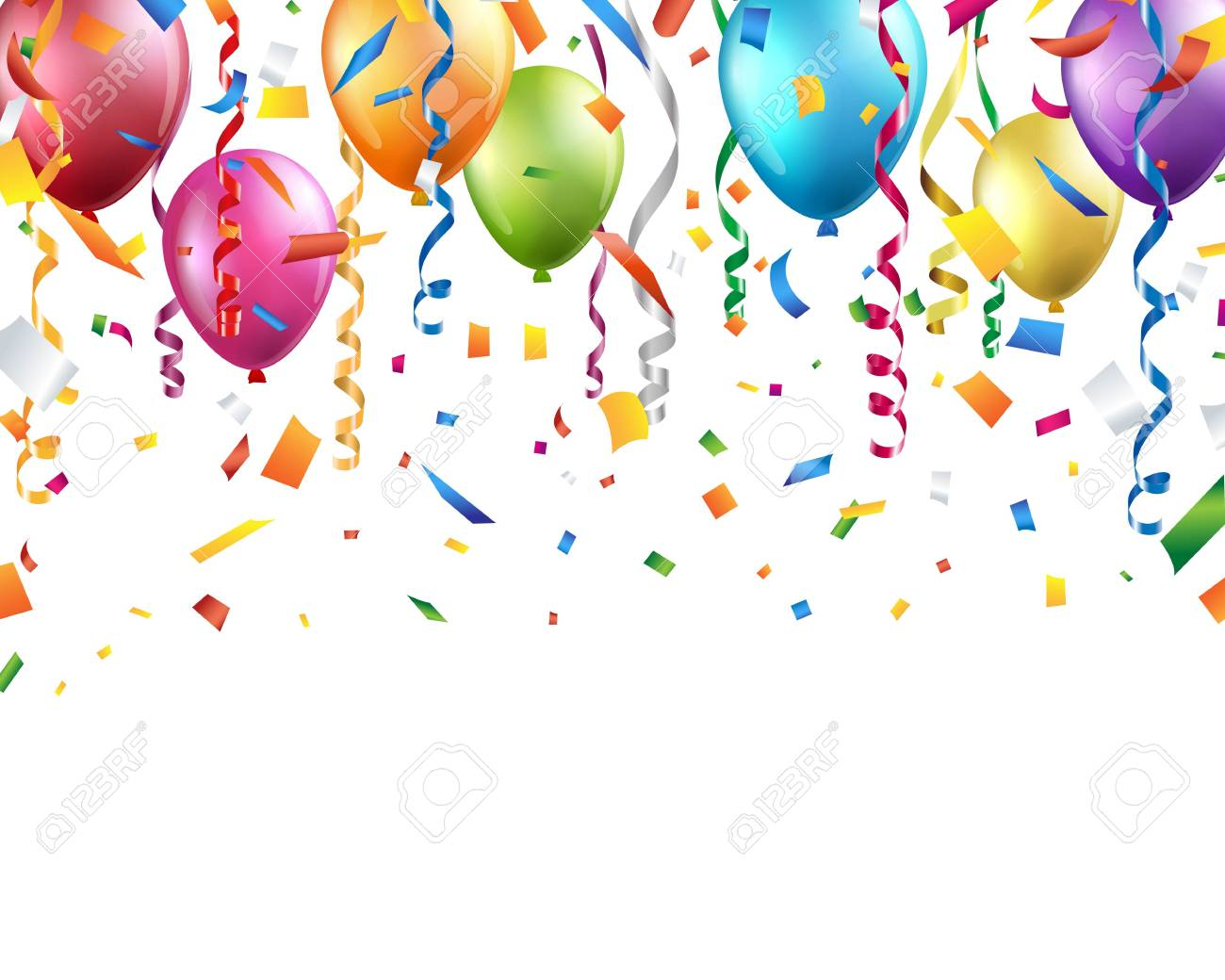 Colorful balloons, confetti and streamers on white background.