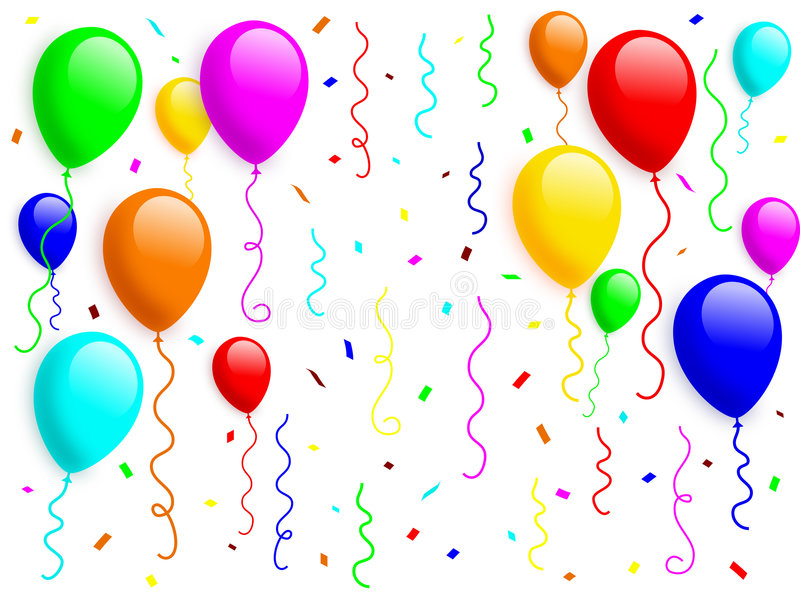 Balloons Confetti Stock Illustrations.
