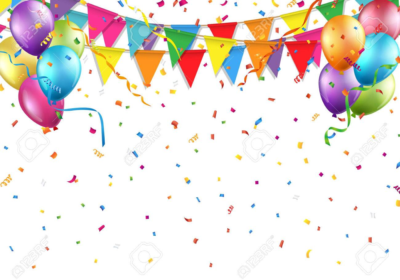 Festive background with party flag, balloon, confetti, and streamer.