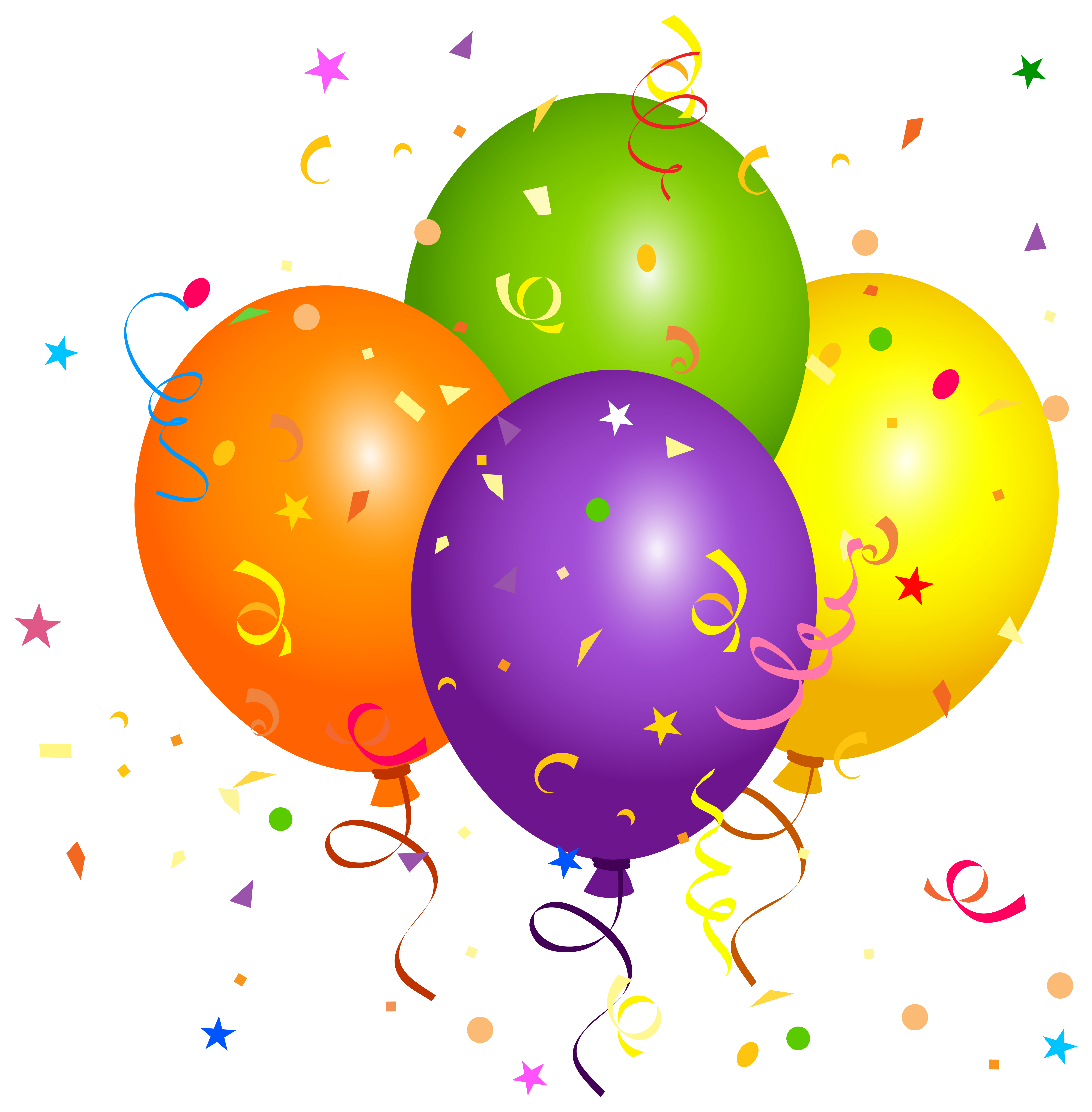 Balloons with Confetti PNG Clipart Image.