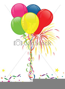 Balloons And Fireworks Clipart Free.