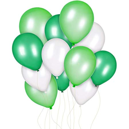 Jovitec 300 Pieces 12 Inch White Light Green and Dark Green Balloons for  Birthday Wedding Party Spring Decorations, Dinosaur Party, Baby Shower,.