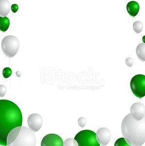 birthday with green and white balloons for you design.