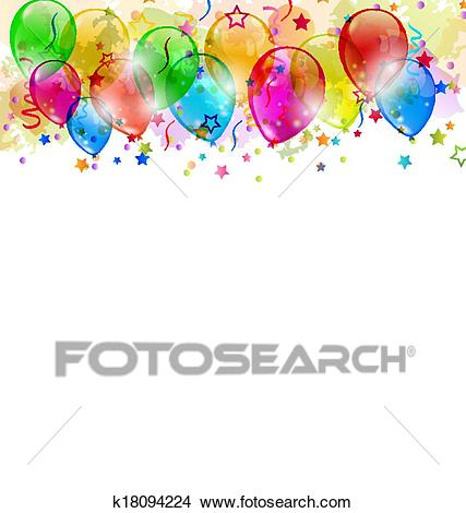 Set party balloons, confetti with space for text Clipart.