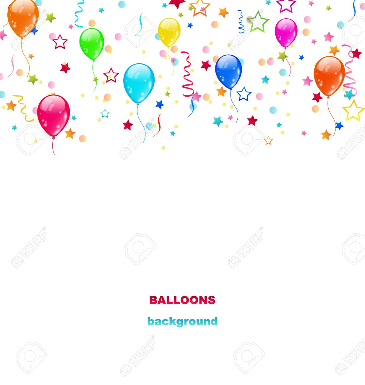 Illustration Party Colorful Balloons, Confetti for Happy Birthday...