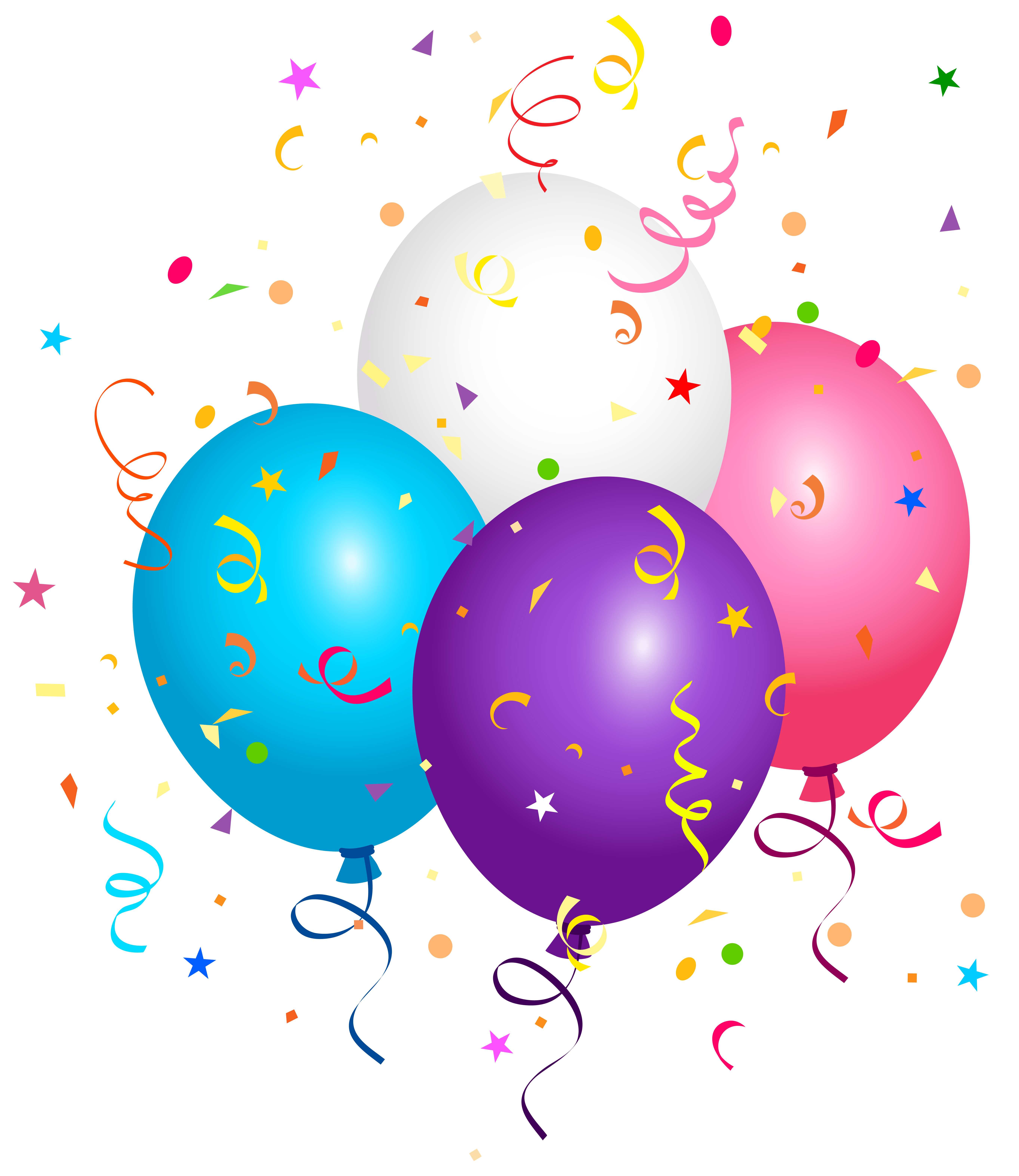 Balloons and Confetti PNG Clipart Image.