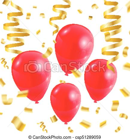 Celebration party red balloons confetti ribbon golden on white.