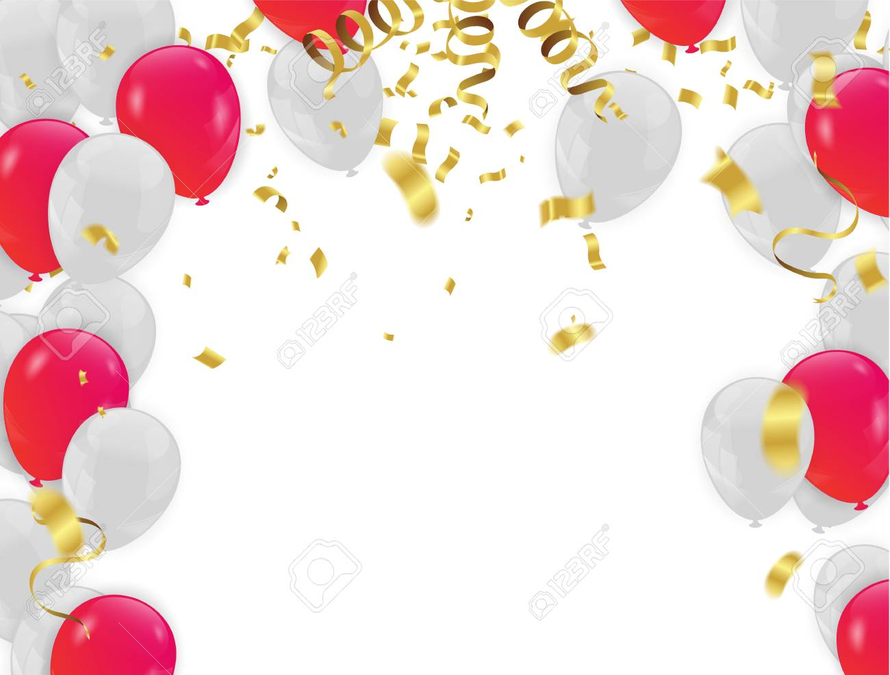 Red White balloons, confetti concept design background. with...
