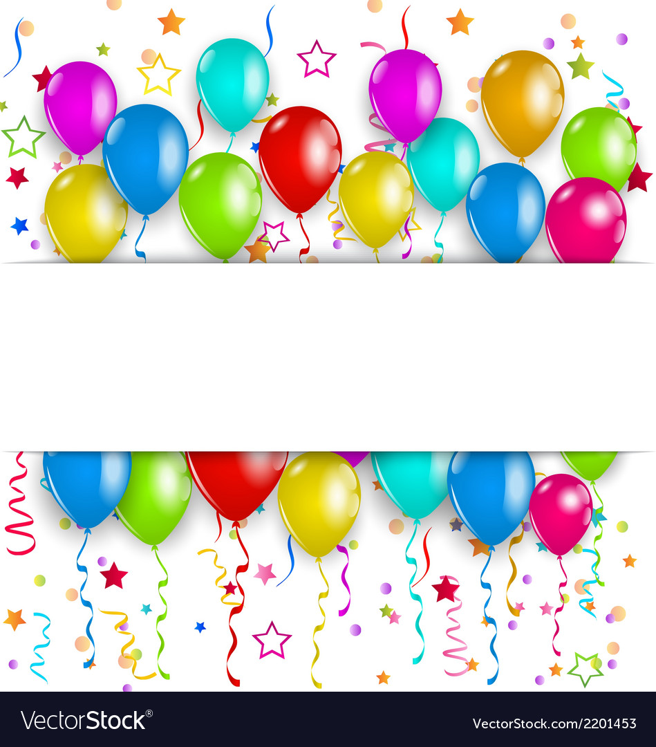 Colourful party balloons confetti with space for.