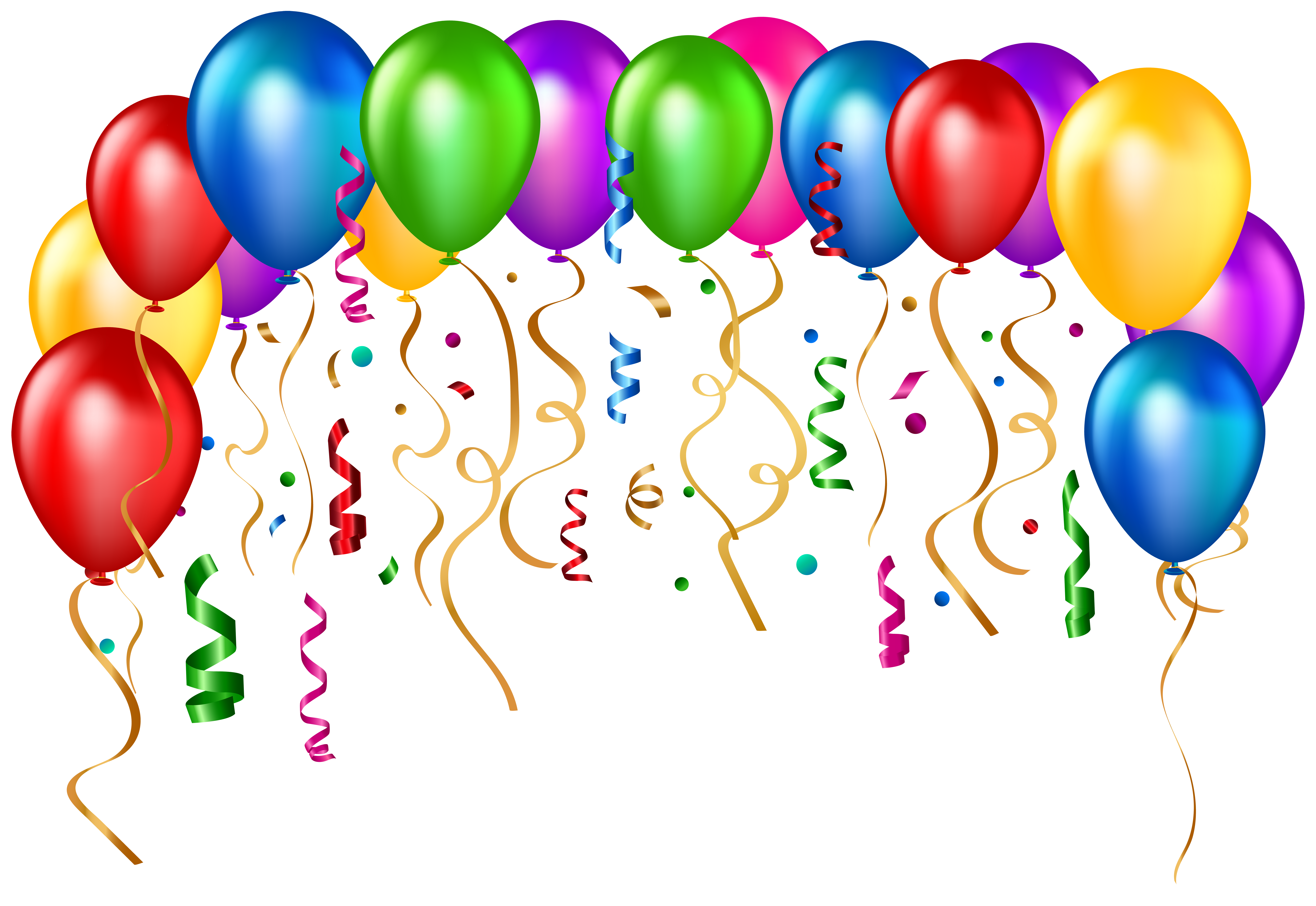 Birthday Party Balloons Transparent PNG Clip Art Image.