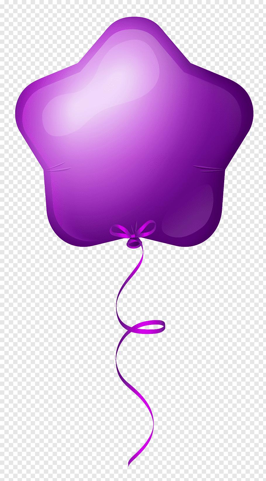 Star purple balloon illustration, Mylar balloon Purple Star.