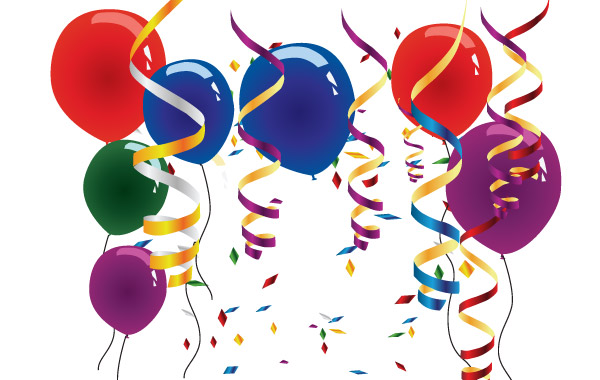 Balloons and streamers clip arts, free clipart.