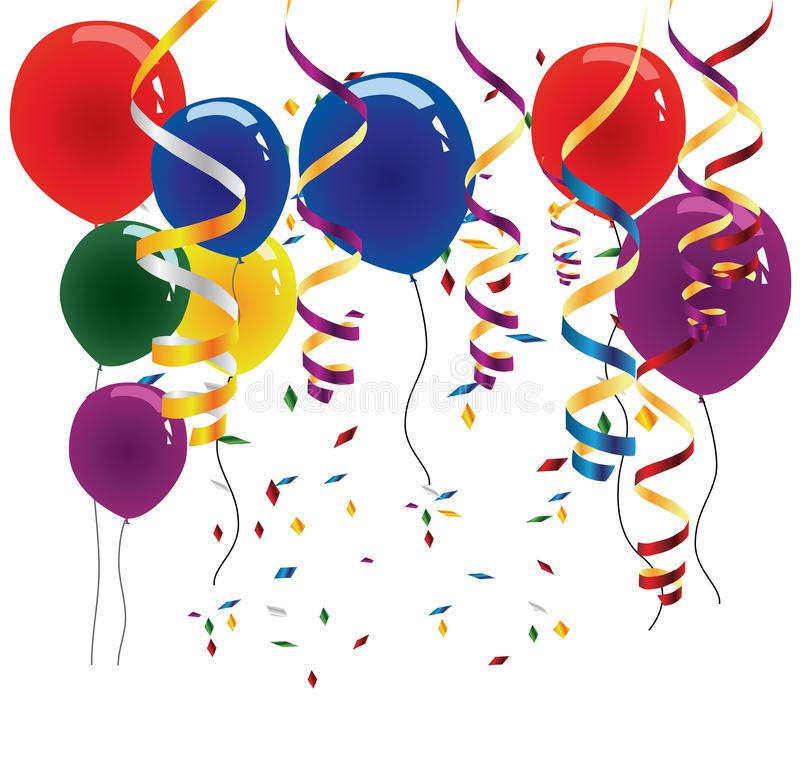Balloons Streamers Stock Illustrations.