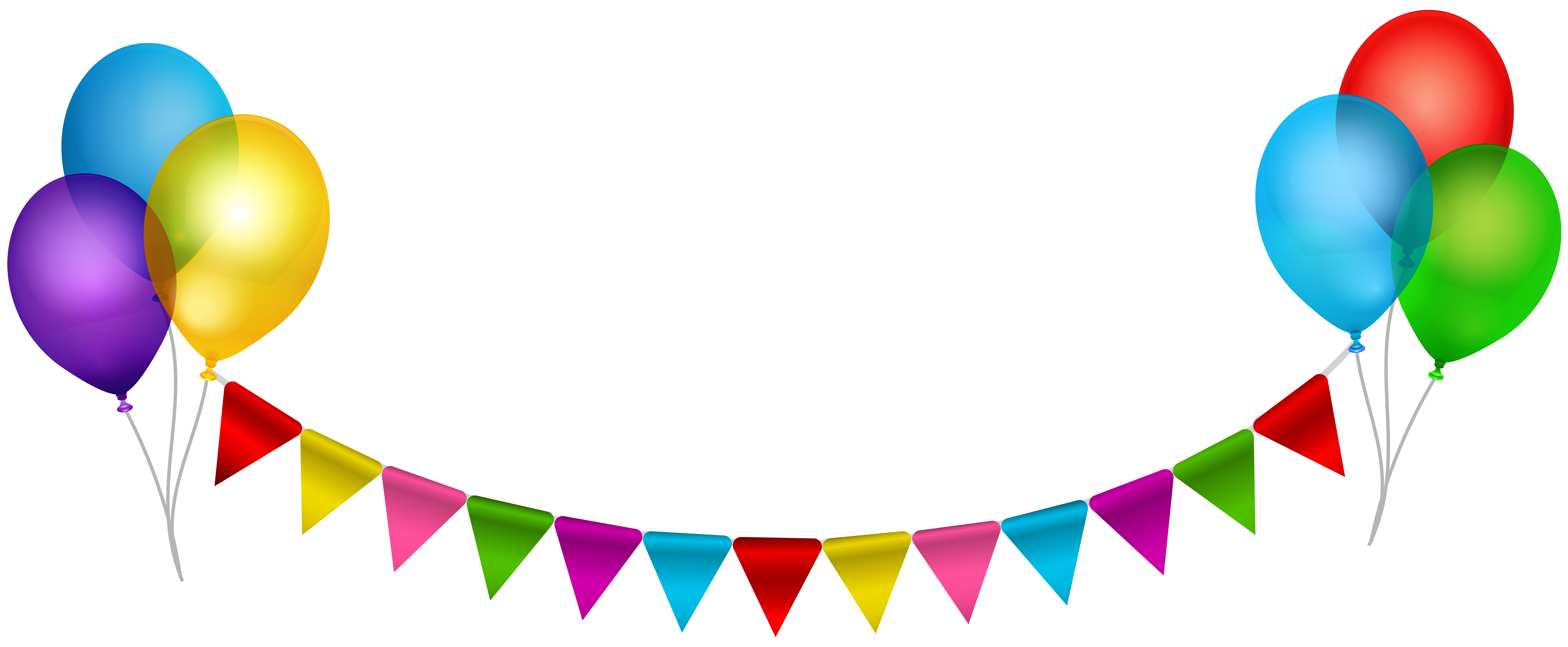 Party Streamer with Balloons Transparent Clip Art.
