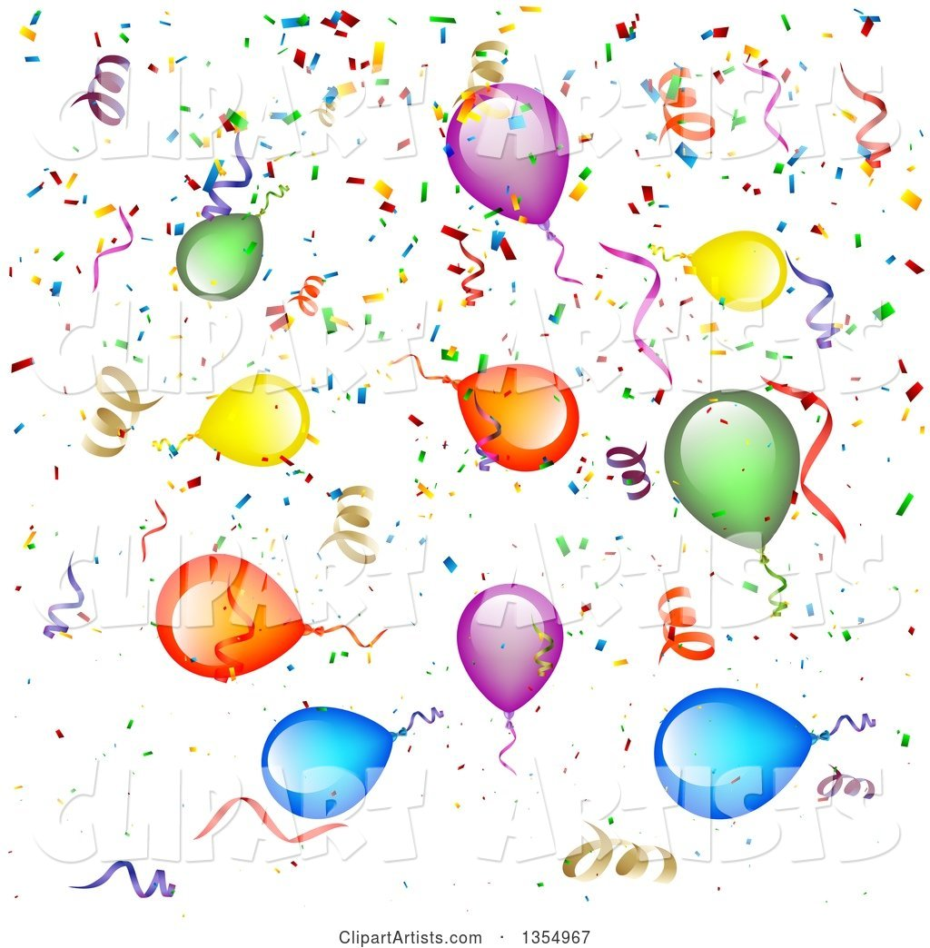 Background of Colorful Party Balloons, Streamers and Confetti.