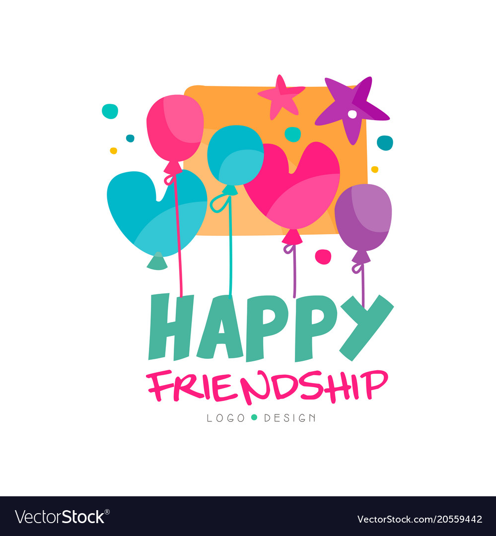 Happy friendship logo with colorful balloons and.