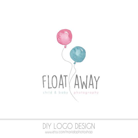 Balloons Watercolor DIY Business Logo, Pastel, photography.