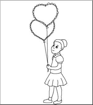 Clip Art: Kids: Girl w/ Valentine Balloons B&W I abcteach.