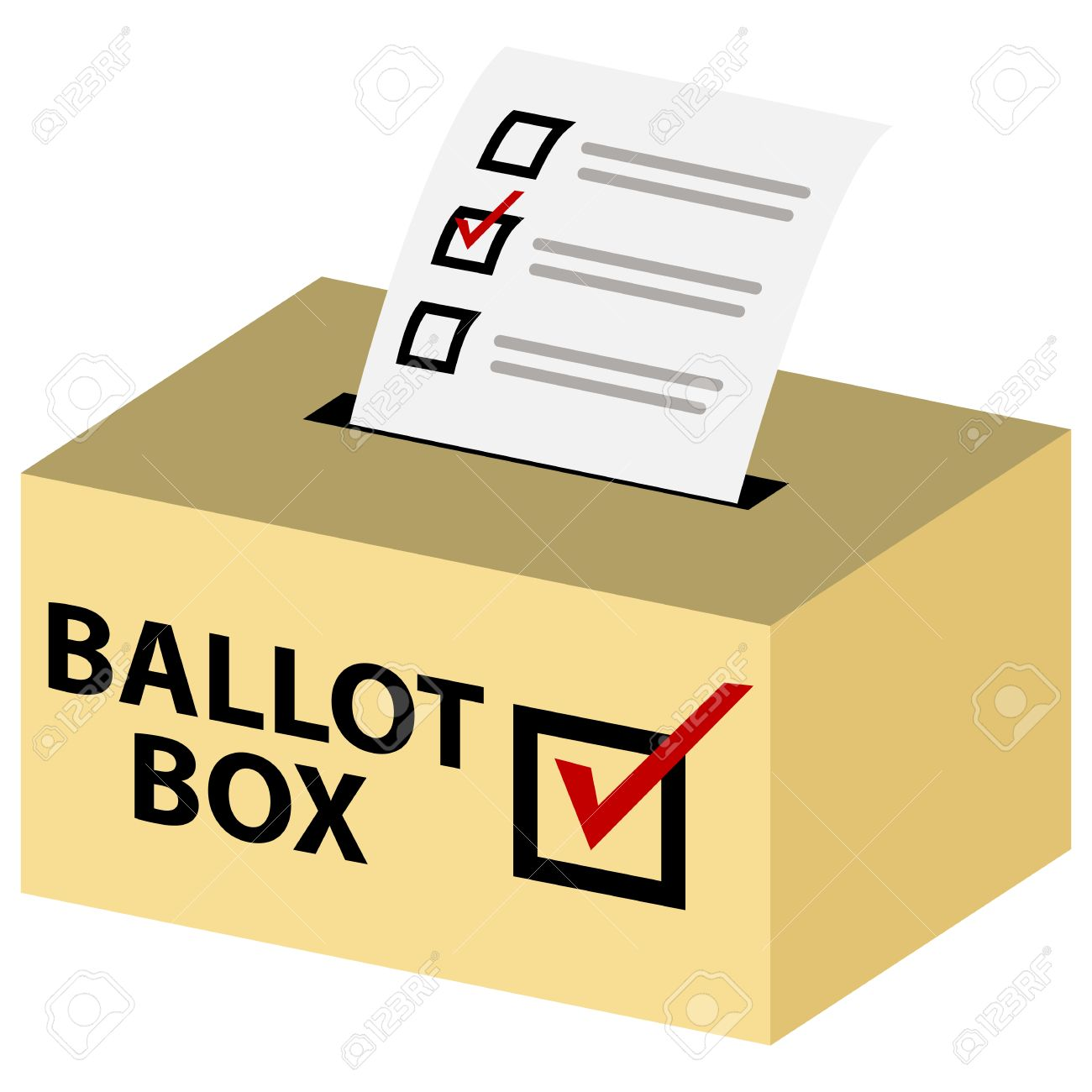 3d voting ballot box with red check mark..