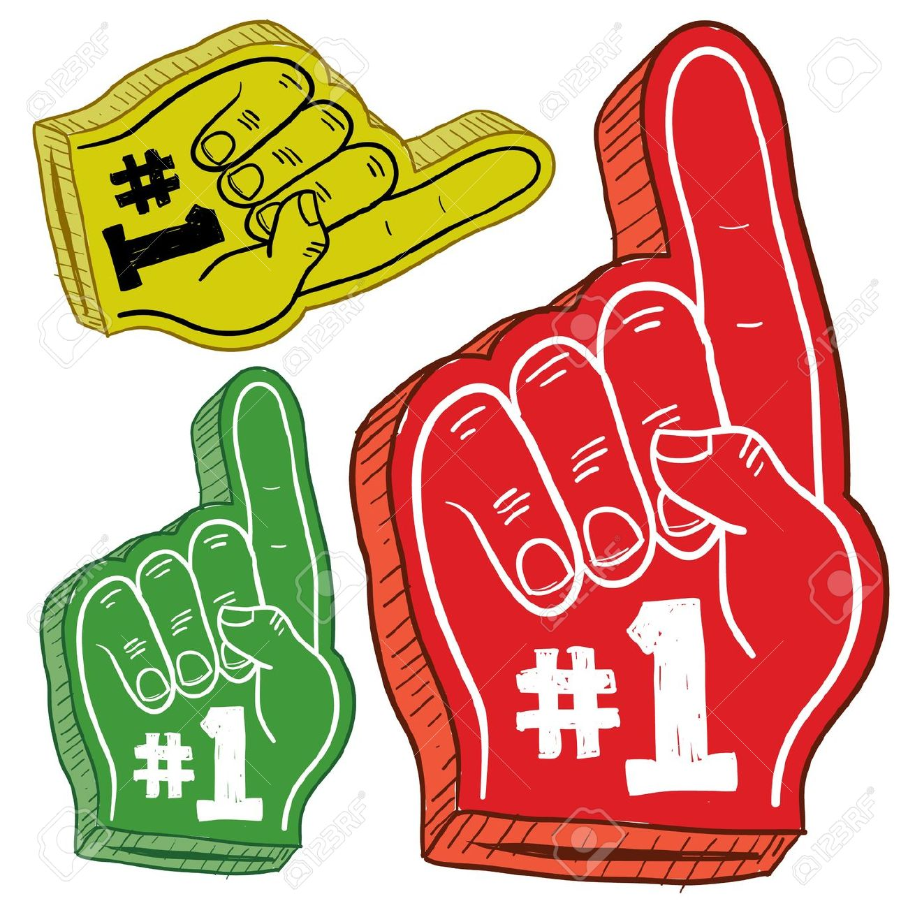 Doodle Style Colorful Foam Fingers Used At Stadiums And Ballparks.