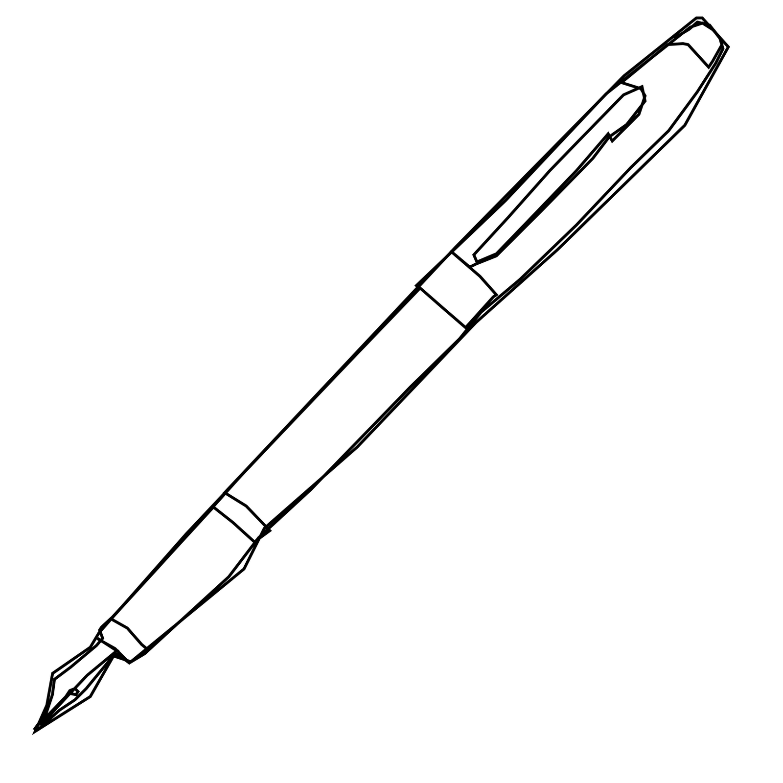 Pen Black And White Clipart.
