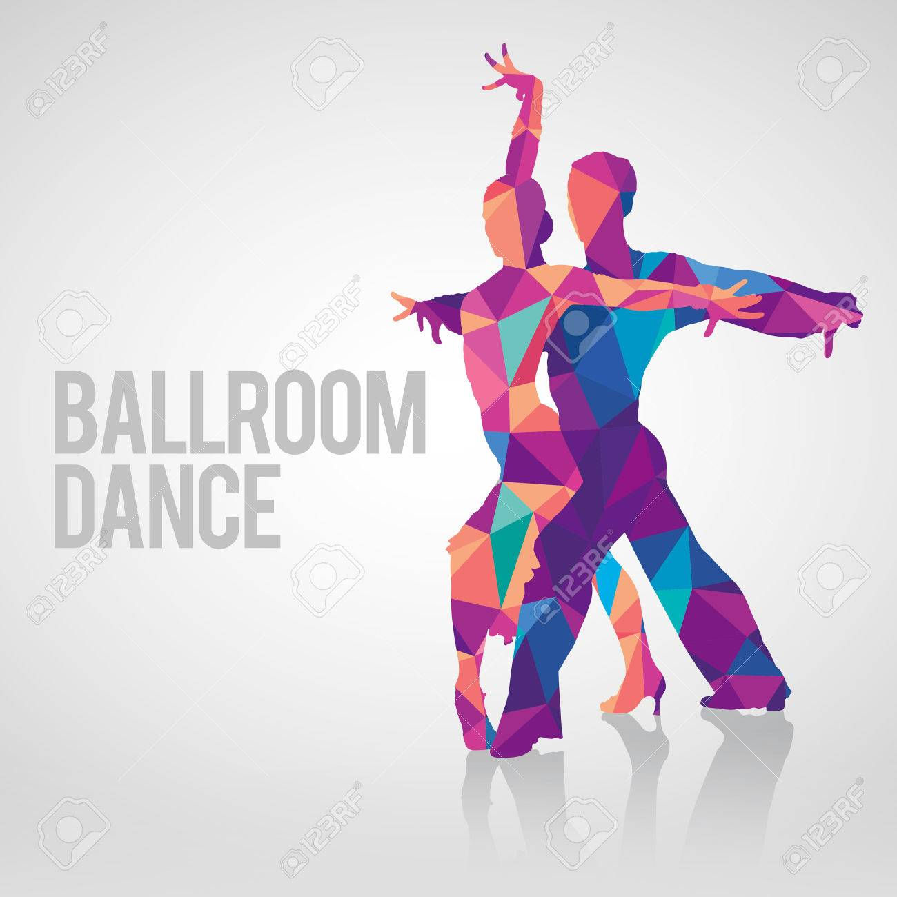 Detailed silhouettes of couple dancing ballroom dance. Multicolored...