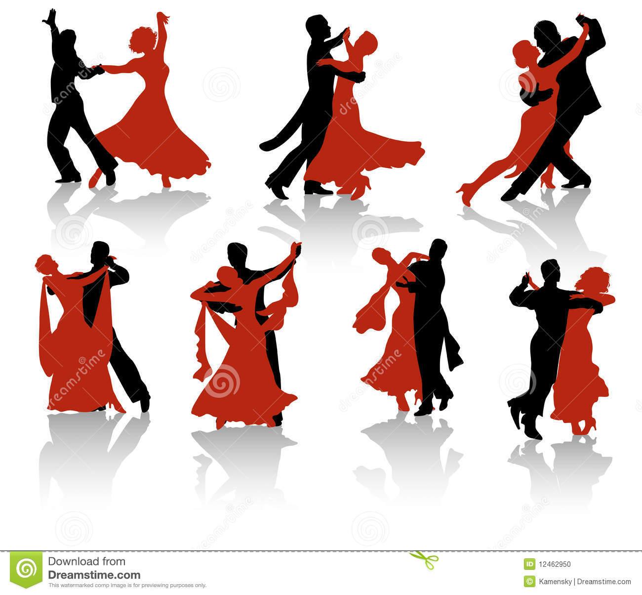 Ballroom Dancers Silhouette Stock Vector.