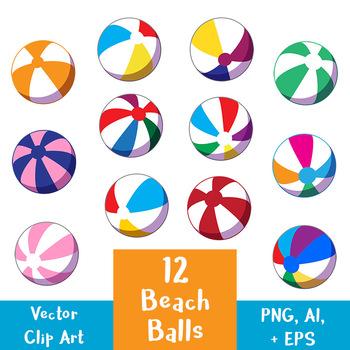 12 Beach Balls Clip Art.