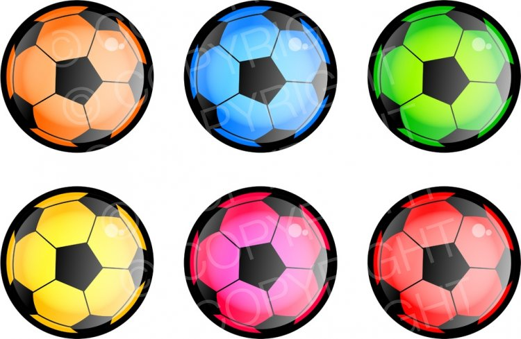 Six Colourful Soccer Balls Sport Clip Art.