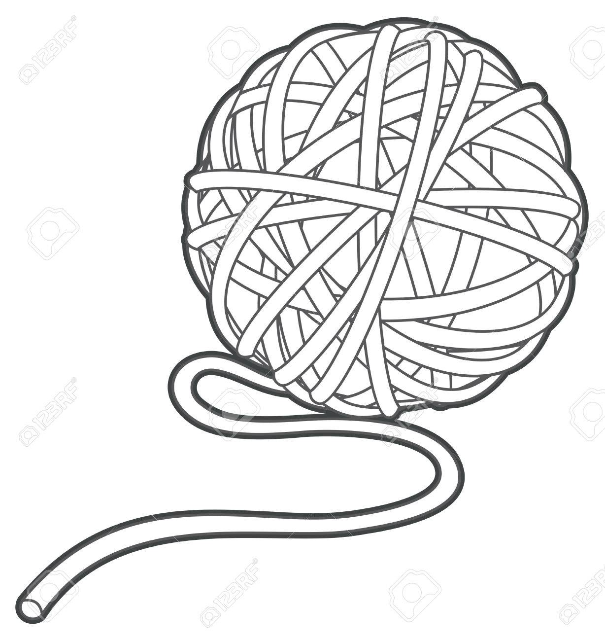 ball of yarn vector outline illustration isolated.