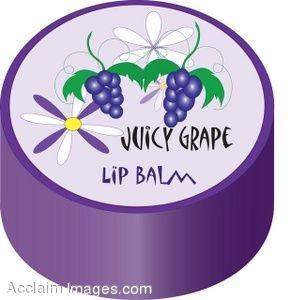 Clip Art of a Jar of Grape Lip Balm.