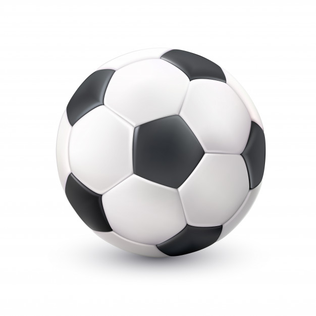 Soccer ball realistic white black picture Vector.