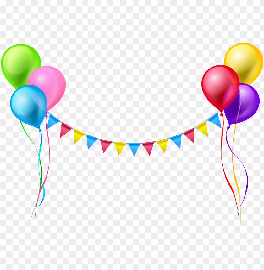 streamer and balloons png clip art image.