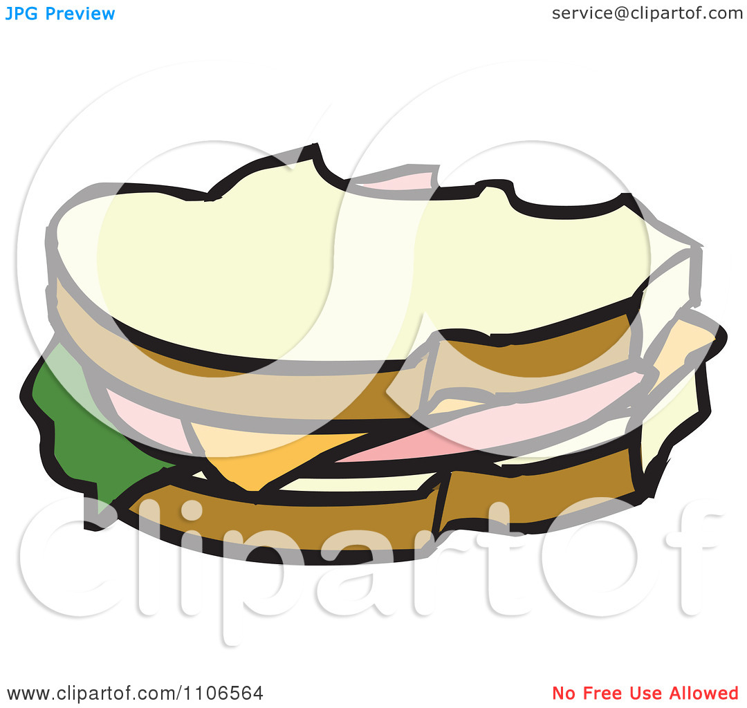 Clipart Bologna Sandwich With Missing Bites.