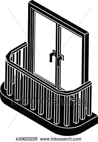Modern balcony icon, simple style Clip Art.