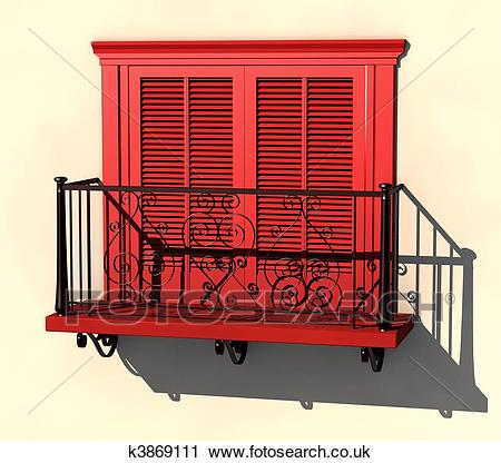 Red balcony in strong summer light Clipart.